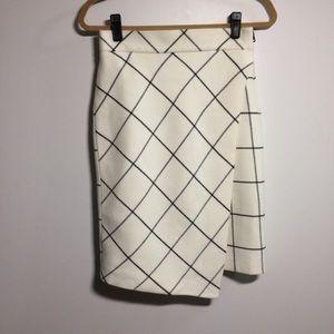 Zara White/Black Grid Skirt